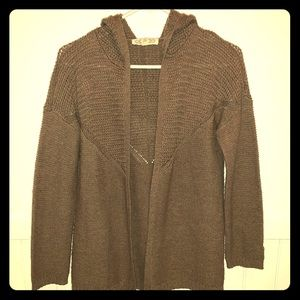 Hooded Open Front Knitted Sweater Brown